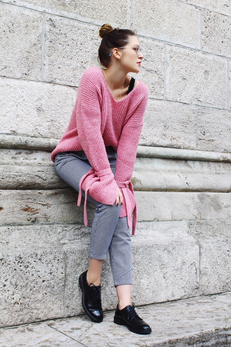 Outfit: Pink Bell Sleeves and High Waist Trouser