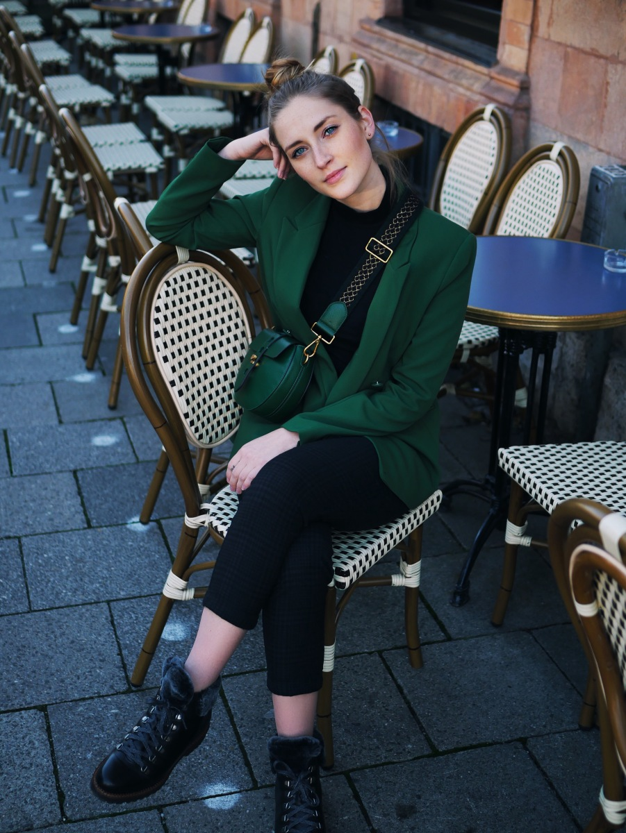Coccinelle Carousel Bag, Green Blazer  and Sioux Shoes