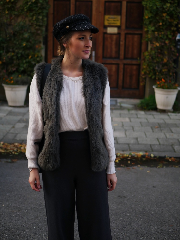 Knitted Grey Trouser, Vinyl Ankle Boots, Batwing Sleeve Pullover and Fake Fur Vest