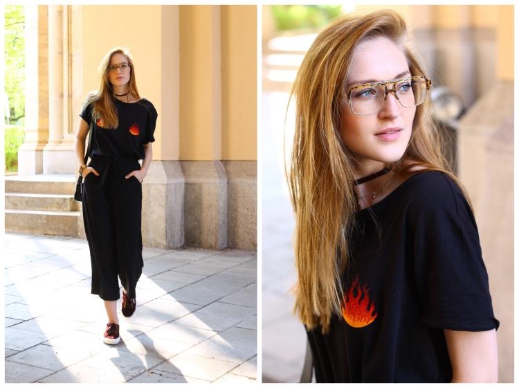Retro Brille, T-Shirt mit Aufdruck und schwarze Culotte