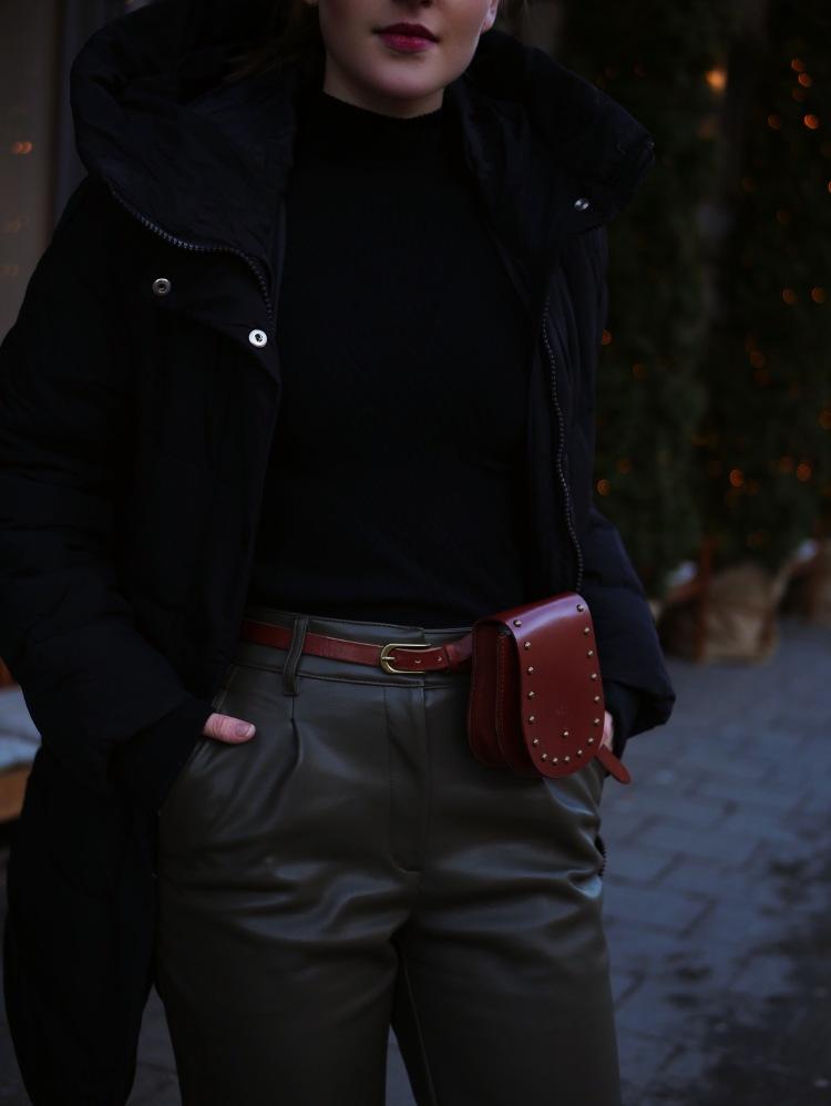 Down Parka, Fake Leather Pants and Belt Bag